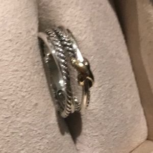 Authentic David Yurman Ring w/ Gold Cross